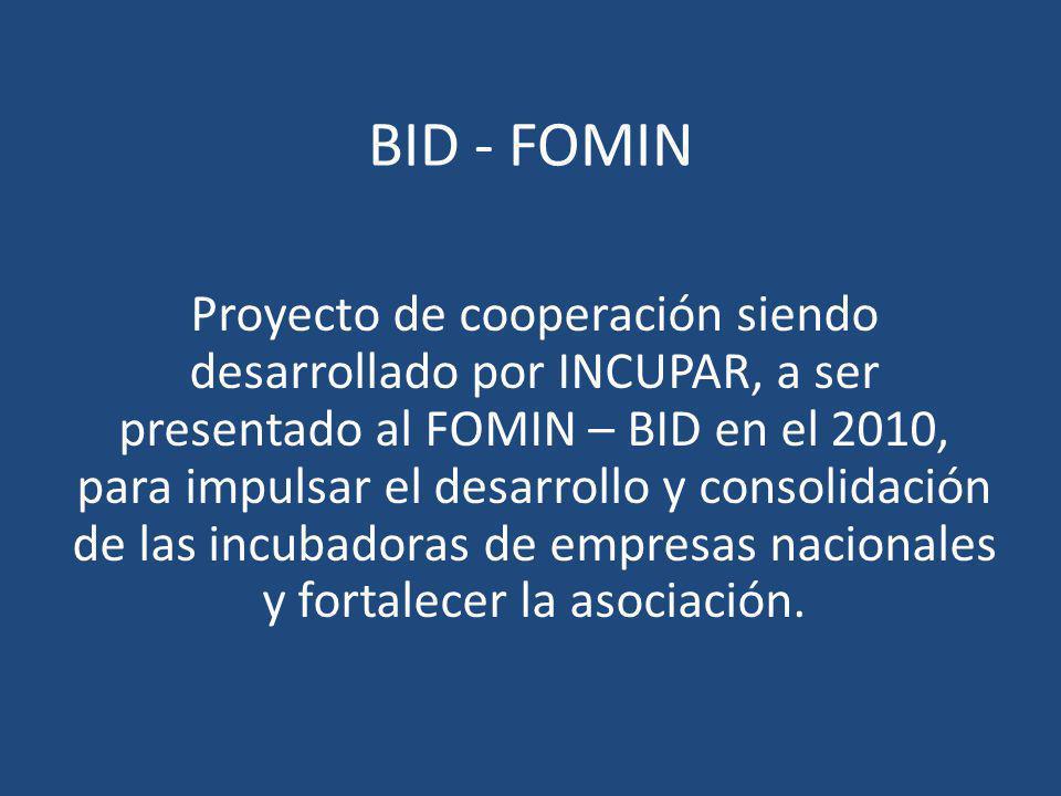 BID - FOMIN Proyecto de cooperación siendo desarrollado por INCUPAR, a ser presentado al FOMIN – BID en el 2010, para impulsar el desarrollo y consoli