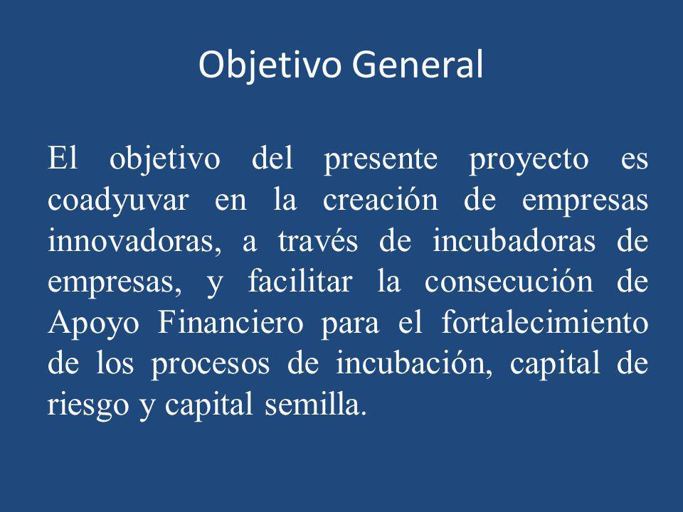Objetivo General El objetivo del presente proyecto es coadyuvar en la creación de empresas innovadoras, a través de incubadoras de empresas, y facilit