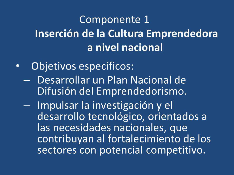 Componente 1 Inserción de la Cultura Emprendedora a nivel nacional Objetivos específicos: – Desarrollar un Plan Nacional de Difusión del Emprendedoris