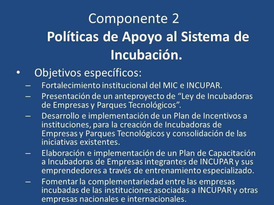 Componente 2 Políticas de Apoyo al Sistema de Incubación. Objetivos específicos: – Fortalecimiento institucional del MIC e INCUPAR. – Presentación de
