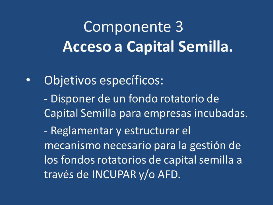 Componente 3 Acceso a Capital Semilla. Objetivos específicos: - Disponer de un fondo rotatorio de Capital Semilla para empresas incubadas. - Reglament