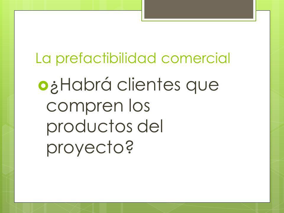 La prefactibilidad comercial ¿Habrá clientes que compren los productos del proyecto