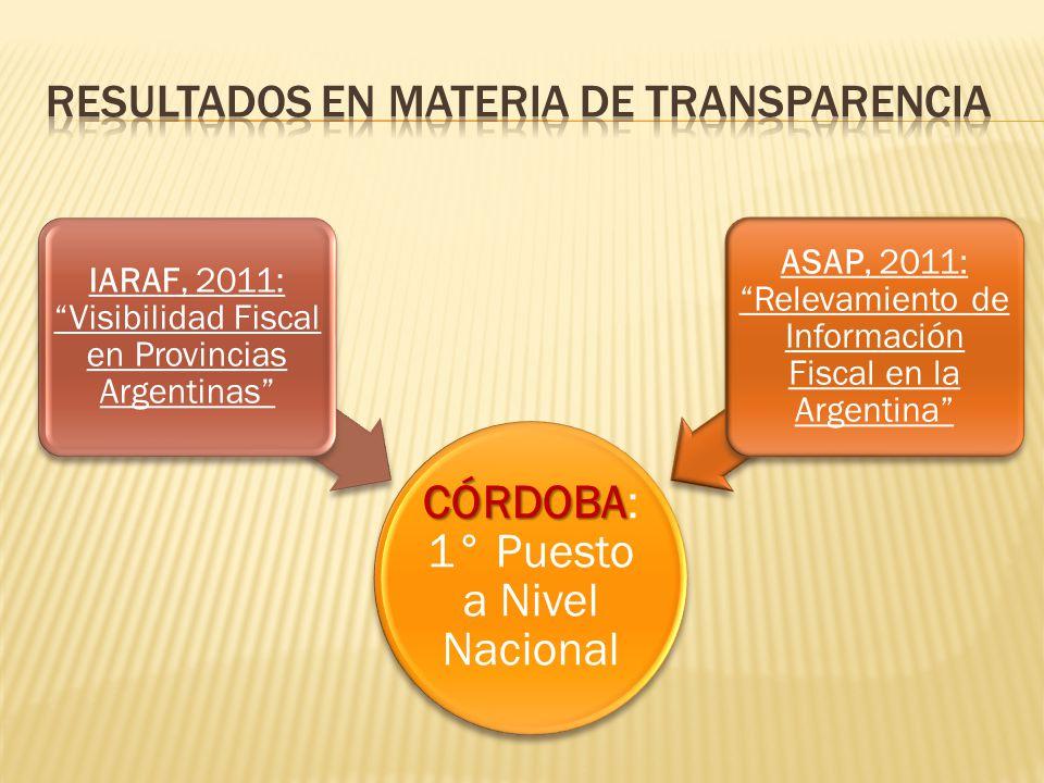 CÓRDOBA CÓRDOBA: 1° Puesto a Nivel Nacional IARAF, 2011: Visibilidad Fiscal en Provincias Argentinas ASAP, 2011: Relevamiento de Información Fiscal en la Argentina