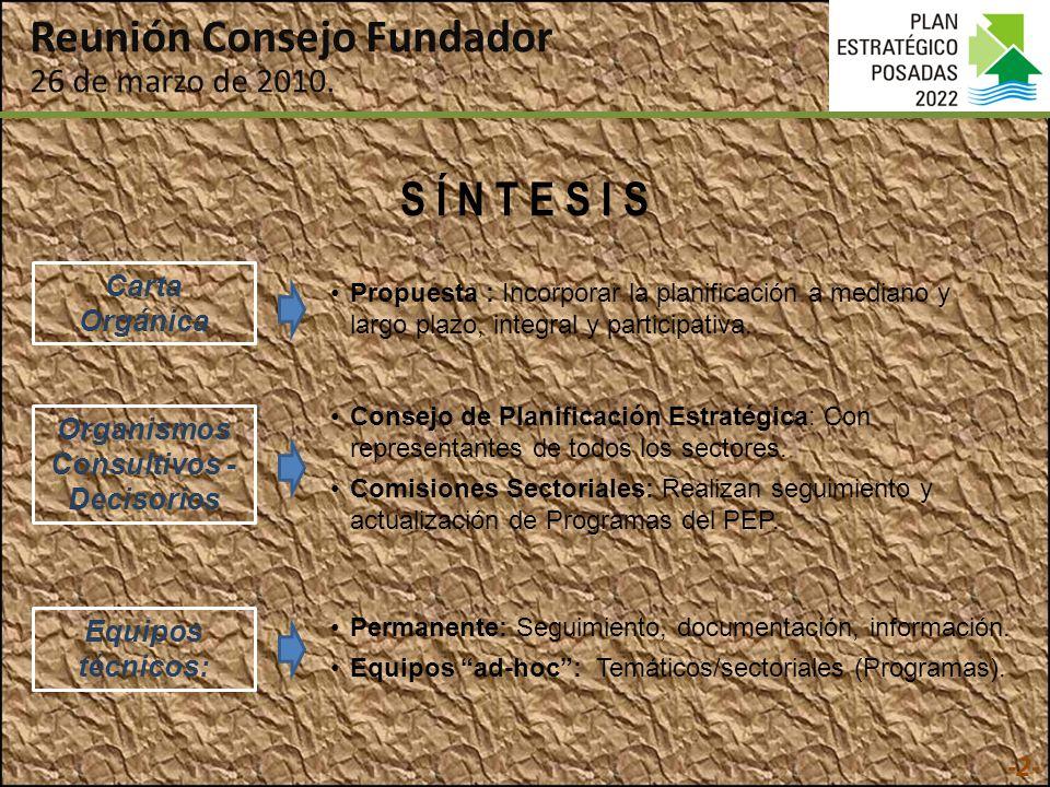 S Í N T E S I S Organismos Consultivos - Decisorios Consejo de Planificación Estratégica: Con representantes de todos los sectores.