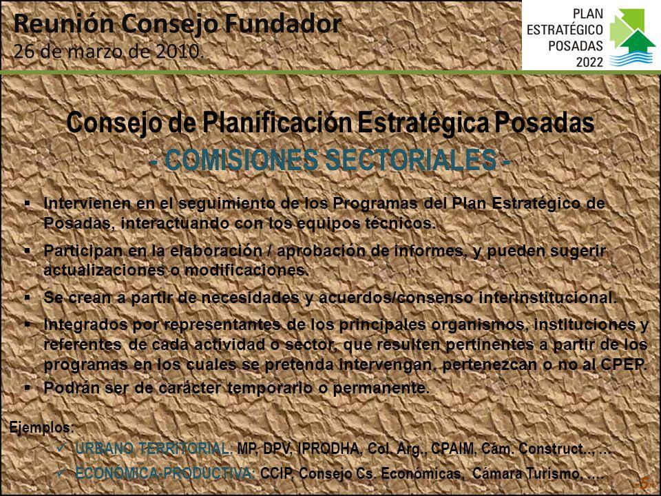 Consejo de Planificación Estratégica Posadas - COMISIONES SECTORIALES - URBANO TERRITORIAL: MP, DPV, IPRODHA, Col.