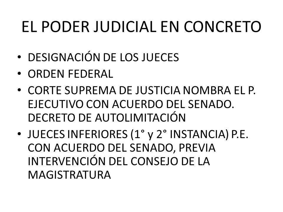 EL PODER JUDICIAL EN CONCRETO DESIGNACIÓN DE LOS JUECES ORDEN FEDERAL CORTE SUPREMA DE JUSTICIA NOMBRA EL P. EJECUTIVO CON ACUERDO DEL SENADO. DECRETO