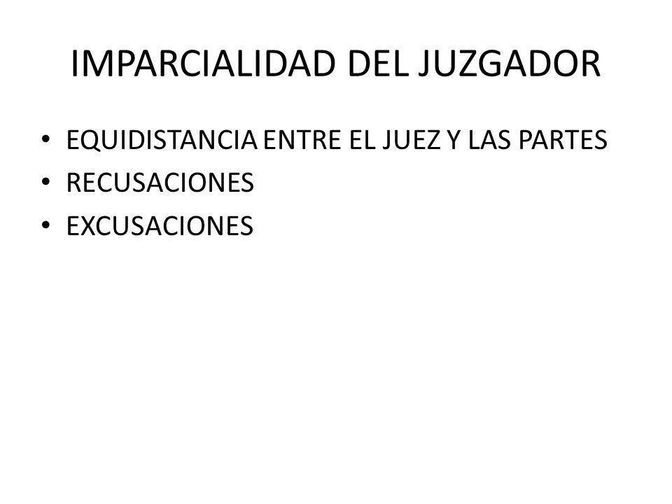 IMPARCIALIDAD DEL JUZGADOR EQUIDISTANCIA ENTRE EL JUEZ Y LAS PARTES RECUSACIONES EXCUSACIONES