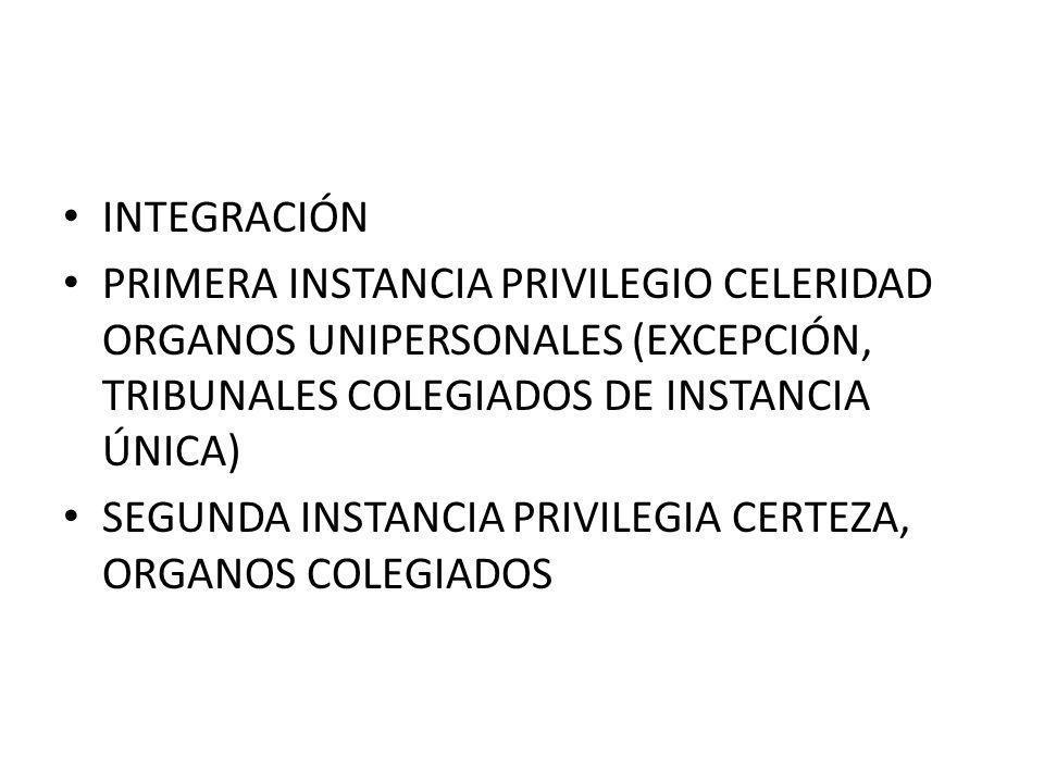 INTEGRACIÓN PRIMERA INSTANCIA PRIVILEGIO CELERIDAD ORGANOS UNIPERSONALES (EXCEPCIÓN, TRIBUNALES COLEGIADOS DE INSTANCIA ÚNICA) SEGUNDA INSTANCIA PRIVI