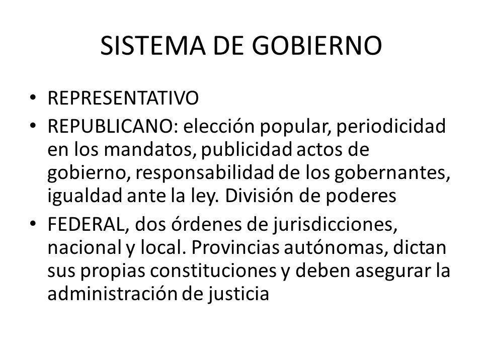 SISTEMA DE GOBIERNO REPRESENTATIVO REPUBLICANO: elección popular, periodicidad en los mandatos, publicidad actos de gobierno, responsabilidad de los g