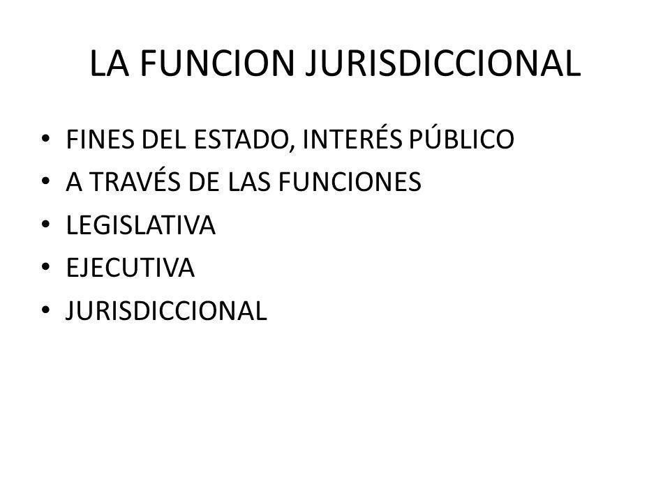 LA FUNCION JURISDICCIONAL FINES DEL ESTADO, INTERÉS PÚBLICO A TRAVÉS DE LAS FUNCIONES LEGISLATIVA EJECUTIVA JURISDICCIONAL