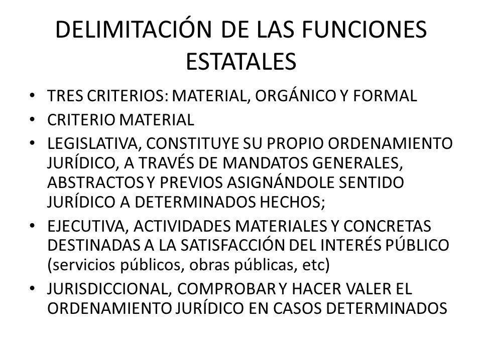 DELIMITACIÓN DE LAS FUNCIONES ESTATALES TRES CRITERIOS: MATERIAL, ORGÁNICO Y FORMAL CRITERIO MATERIAL LEGISLATIVA, CONSTITUYE SU PROPIO ORDENAMIENTO J