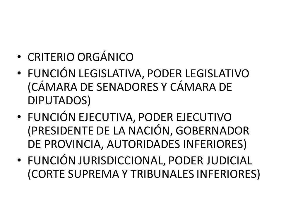 CRITERIO ORGÁNICO FUNCIÓN LEGISLATIVA, PODER LEGISLATIVO (CÁMARA DE SENADORES Y CÁMARA DE DIPUTADOS) FUNCIÓN EJECUTIVA, PODER EJECUTIVO (PRESIDENTE DE