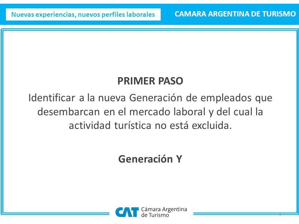 Nuevas experiencias, nuevos perfiles laborales CAMARA ARGENTINA DE TURISMO PRIMER PASO Identificar a la nueva Generación de empleados que desembarcan en el mercado laboral y del cual la actividad turística no está excluida.