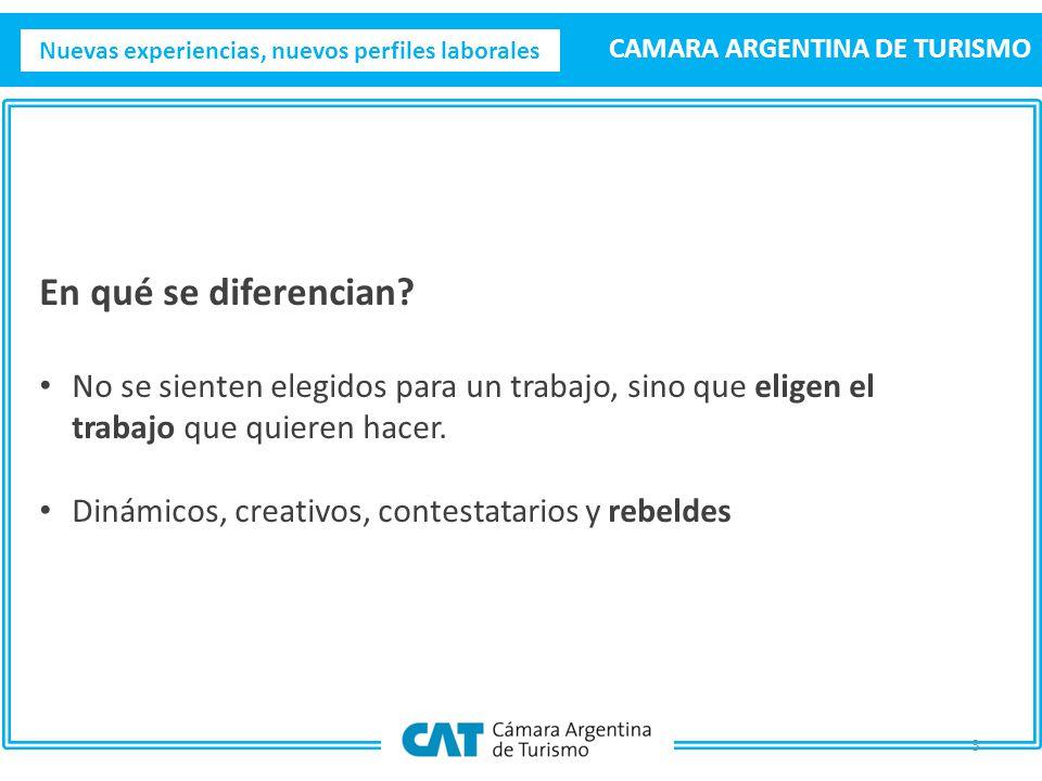 Nuevas experiencias, nuevos perfiles laborales CAMARA ARGENTINA DE TURISMO 3 En qué se diferencian.