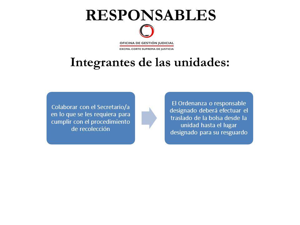 RESPONSABLES Integrantes de las unidades: Colaborar con el Secretario/a en lo que se les requiera para cumplir con el procedimiento de recolección El