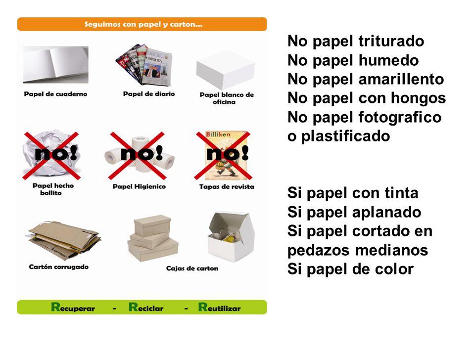 No papel triturado No papel humedo No papel amarillento No papel con hongos No papel fotografico o plastificado Si papel con tinta Si papel aplanado S
