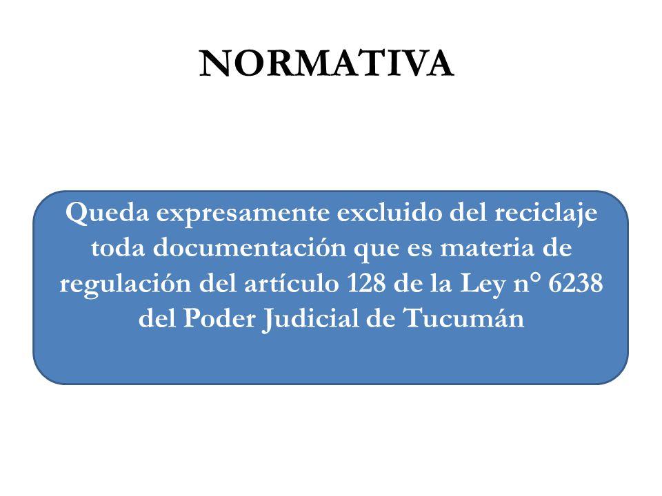 Queda expresamente excluido del reciclaje toda documentación que es materia de regulación del artículo 128 de la Ley n° 6238 del Poder Judicial de Tuc