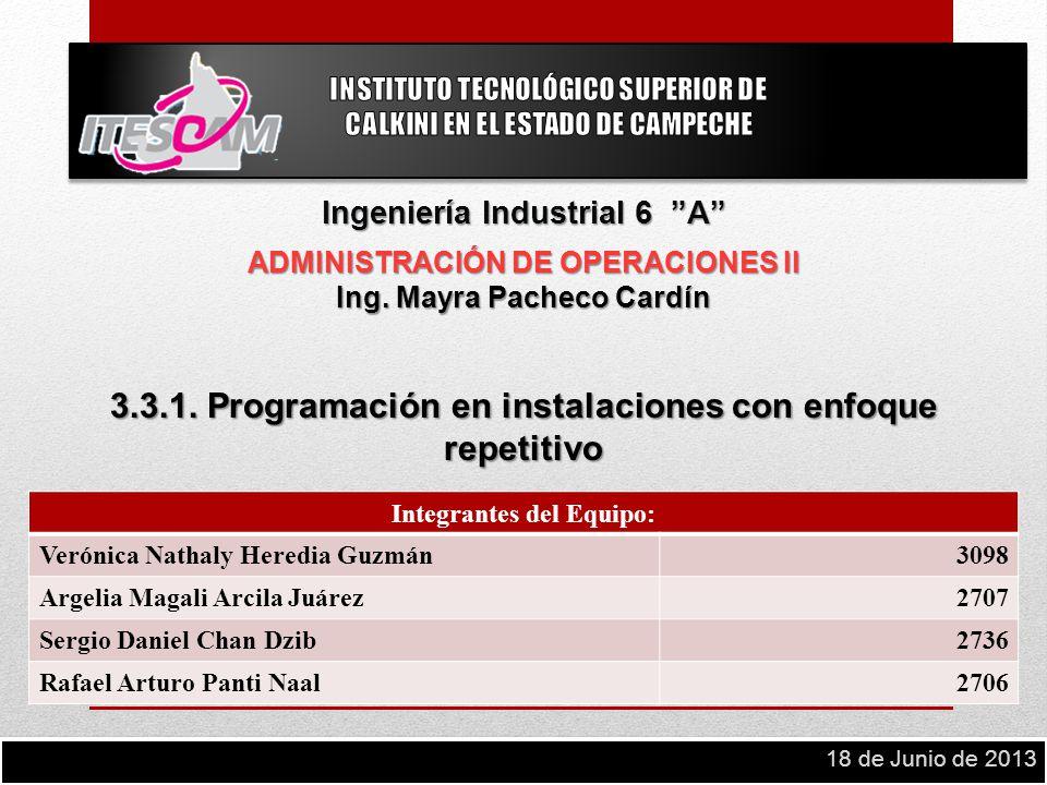 Ingeniería Industrial 6 A ADMINISTRACIÓN DE OPERACIONES II Ing. Mayra Pacheco Cardín 3.3.1. Programación en instalaciones con enfoque repetitivo Integ