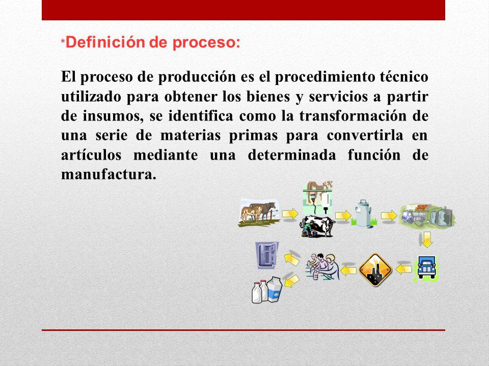 * Definición de proceso: El proceso de producción es el procedimiento técnico utilizado para obtener los bienes y servicios a partir de insumos, se identifica como la transformación de una serie de materias primas para convertirla en artículos mediante una determinada función de manufactura.