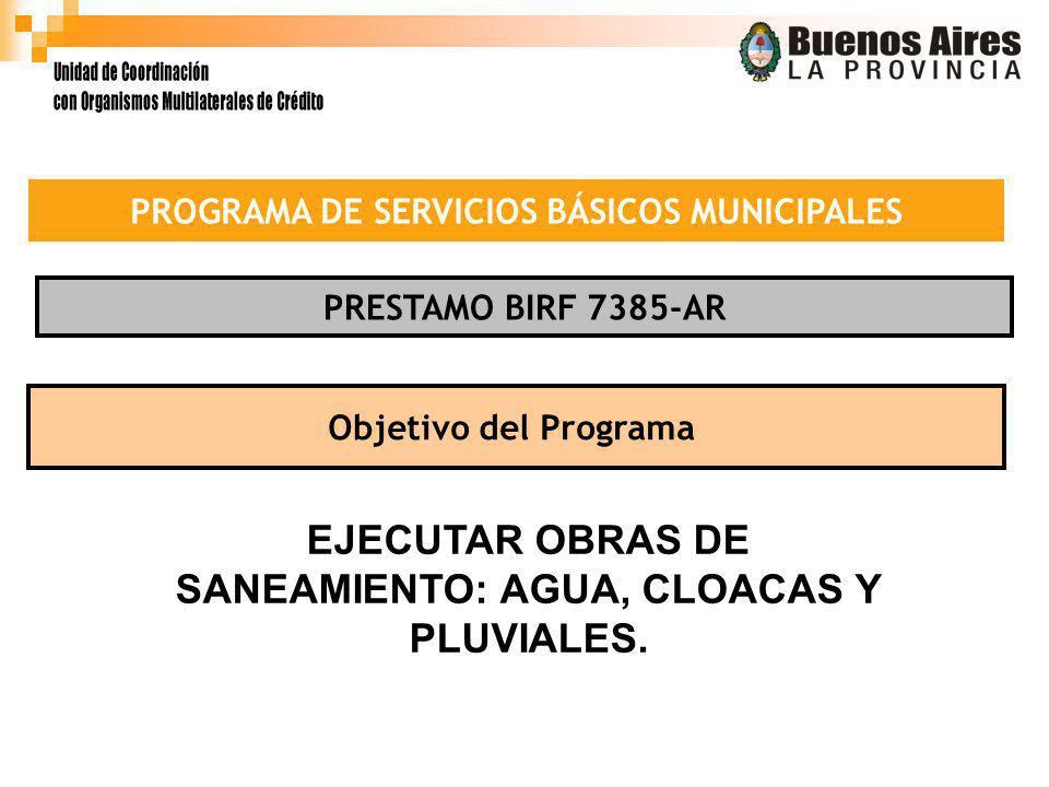 PROGRAMA DE SERVICIOS BÁSICOS MUNICIPALES PRESTAMO BIRF 7385-AR Objetivo del Programa EJECUTAR OBRAS DE SANEAMIENTO: AGUA, CLOACAS Y PLUVIALES.