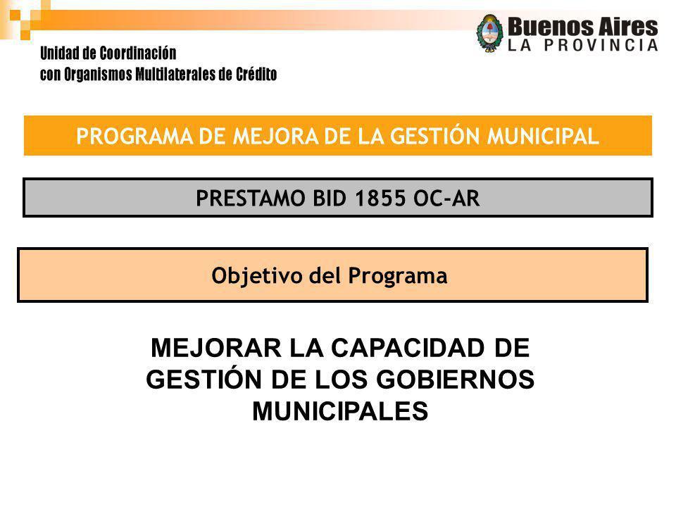 PRESTAMO BID 1855 OC-AR Objetivo del Programa MEJORAR LA CAPACIDAD DE GESTIÓN DE LOS GOBIERNOS MUNICIPALES PROGRAMA DE MEJORA DE LA GESTIÓN MUNICIPAL