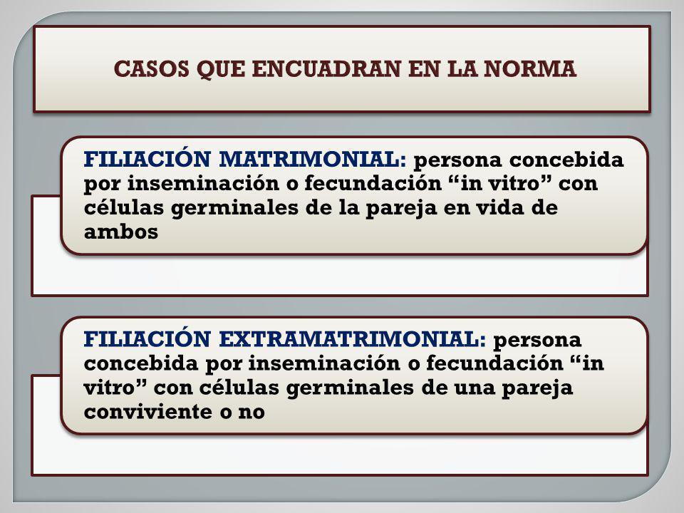 FILIACIÓN MATRIMONIAL: persona concebida por inseminación o fecundación in vitro con células germinales de la pareja en vida de ambos FILIACIÓN EXTRAM