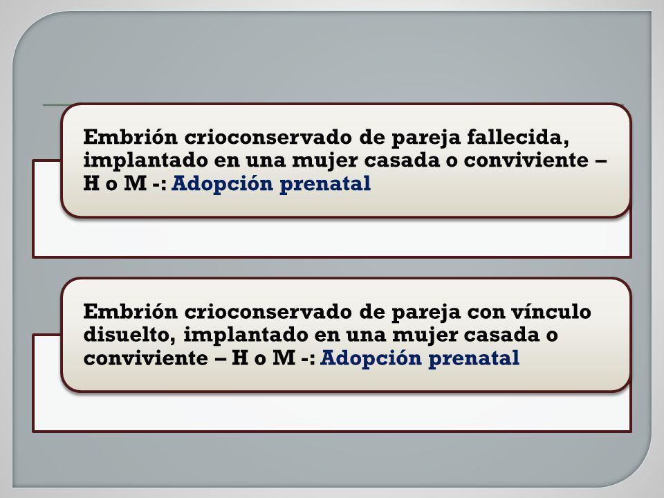 Embrión crioconservado de pareja fallecida, implantado en una mujer casada o conviviente – H o M -: Adopción prenatal Embrión crioconservado de pareja