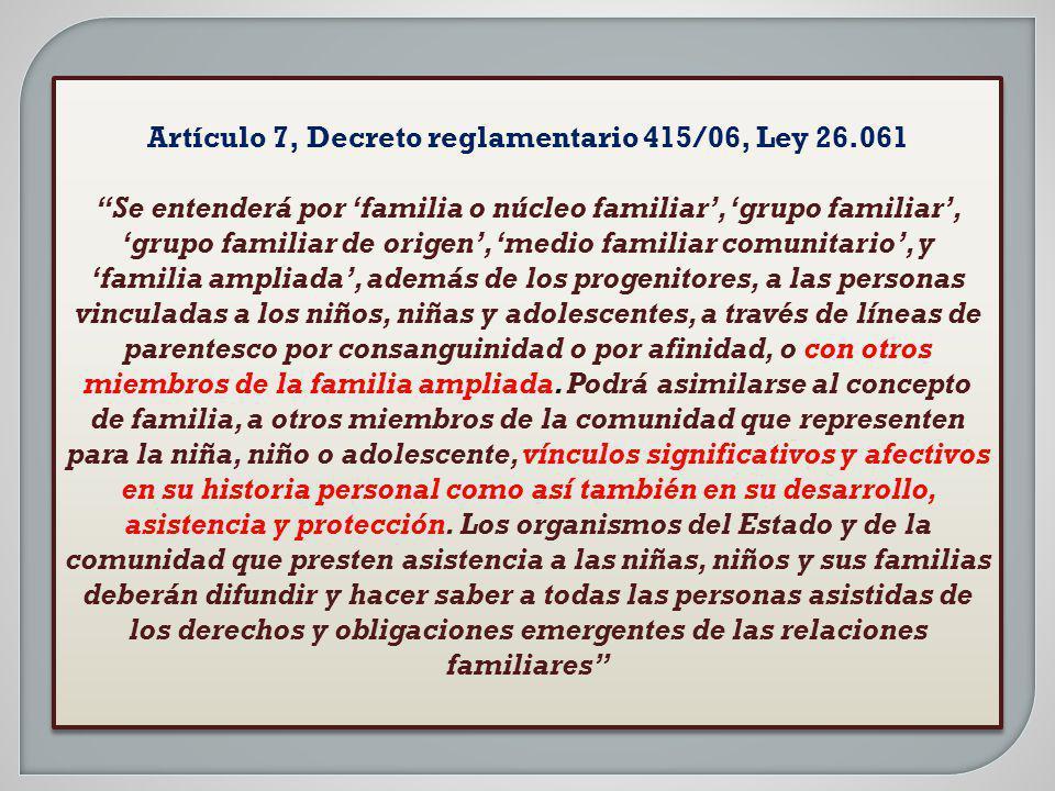 Artículo 7, Decreto reglamentario 415/06, Ley 26.061 Se entenderá por familia o núcleo familiar, grupo familiar, grupo familiar de origen, medio famil