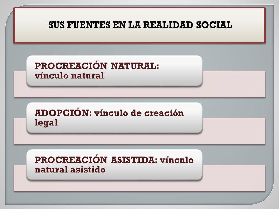 PROCREACIÓN NATURAL: vínculo natural ADOPCIÓN: vínculo de creación legal PROCREACIÓN ASISTIDA: vínculo natural asistido