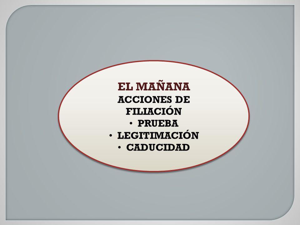 EL MAÑANA ACCIONES DE FILIACIÓN PRUEBA LEGITIMACIÓN CADUCIDAD EL MAÑANA ACCIONES DE FILIACIÓN PRUEBA LEGITIMACIÓN CADUCIDAD