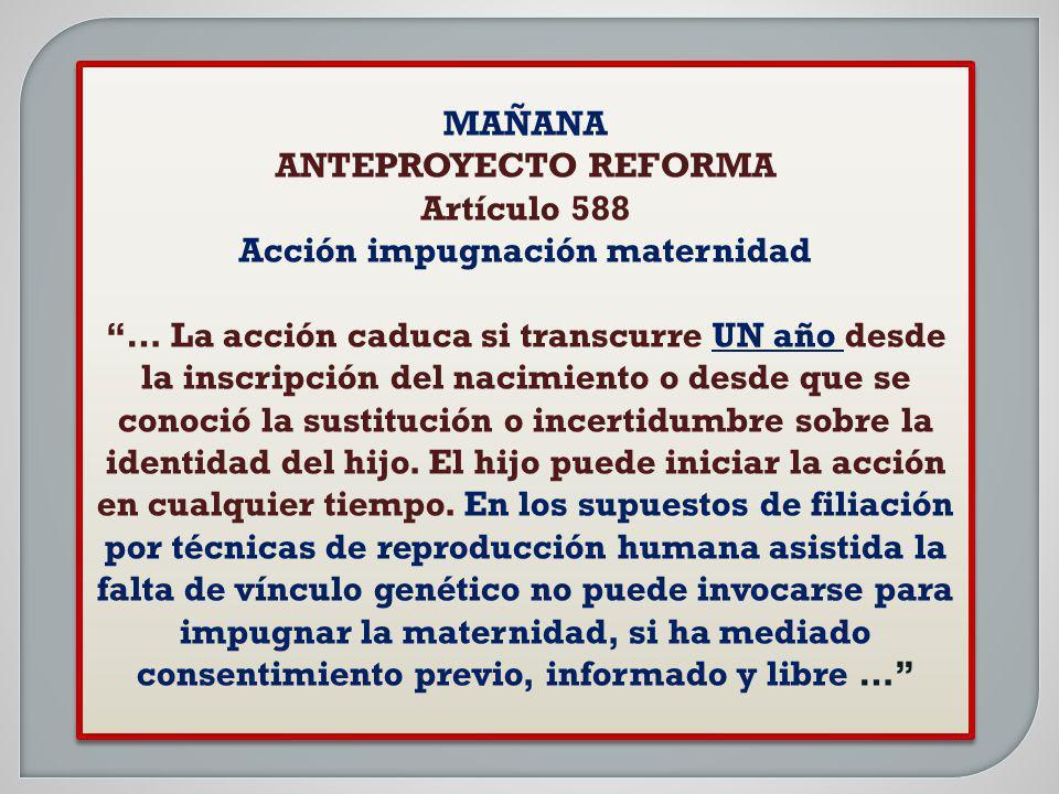 MAÑANA ANTEPROYECTO REFORMA Artículo 588 Acción impugnación maternidad … La acción caduca si transcurre UN año desde la inscripción del nacimiento o d