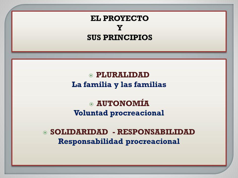 PLURALIDAD La familia y las familias AUTONOMÍA Voluntad procreacional SOLIDARIDAD - RESPONSABILIDAD Responsabilidad procreacional PLURALIDAD La famili