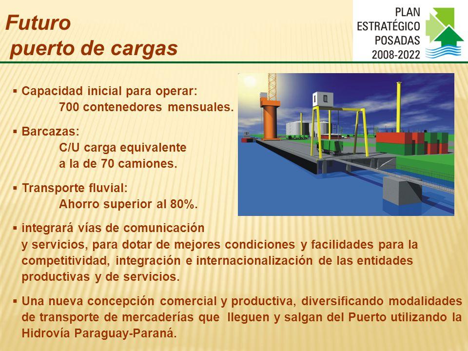 Futuro puerto de cargas Capacidad inicial para operar: 700 contenedores mensuales.