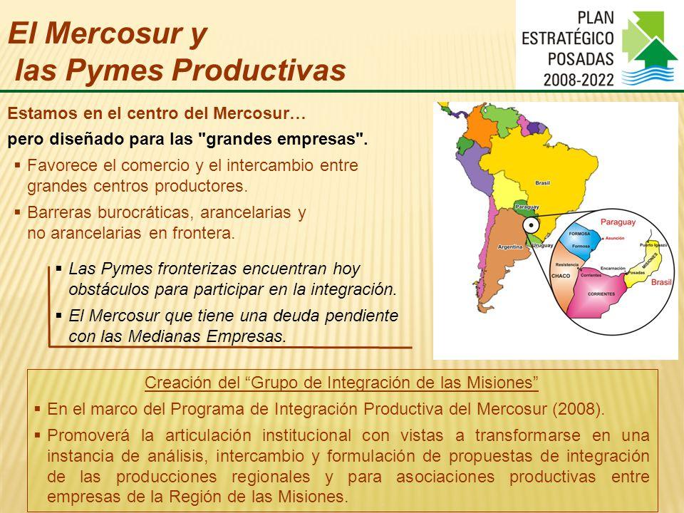 El Mercosur y las Pymes Productivas Estamos en el centro del Mercosur… Las Pymes fronterizas encuentran hoy obstáculos para participar en la integración.