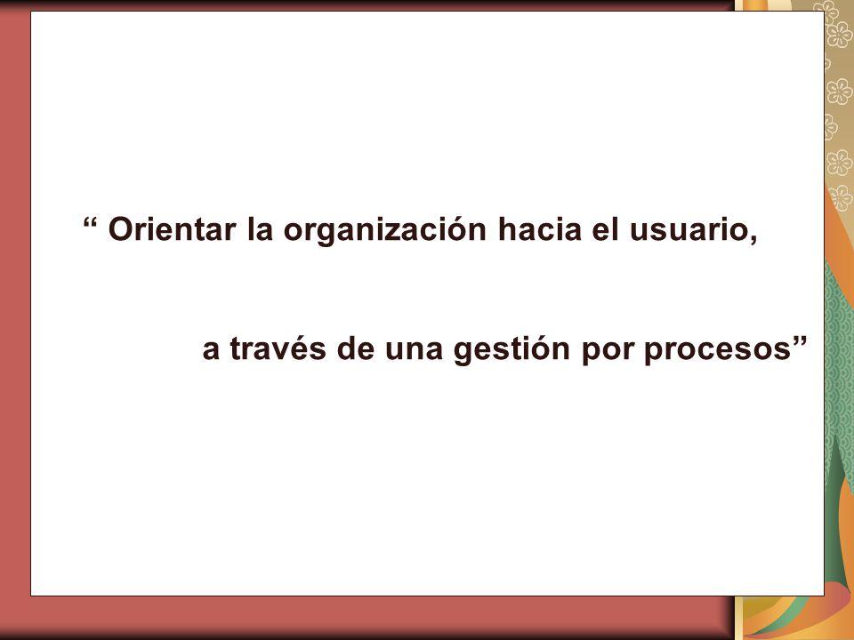 Orientar la organización hacia el usuario, a través de una gestión por procesos