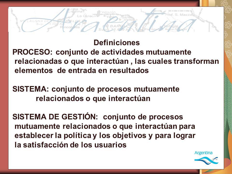 Definiciones PROCESO: conjunto de actividades mutuamente relacionadas o que interactúan, las cuales transforman elementos de entrada en resultados SISTEMA: conjunto de procesos mutuamente relacionados o que interactúan SISTEMA DE GESTIÓN: conjunto de procesos mutuamente relacionados o que interactúan para establecer la política y los objetivos y para lograr la satisfacción de los usuarios