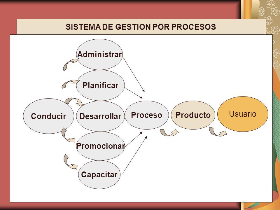 Conducir Capacitar Planificar Administrar Producto Usuario Proceso Desarrollar Promocionar SISTEMA DE GESTION POR PROCESOS