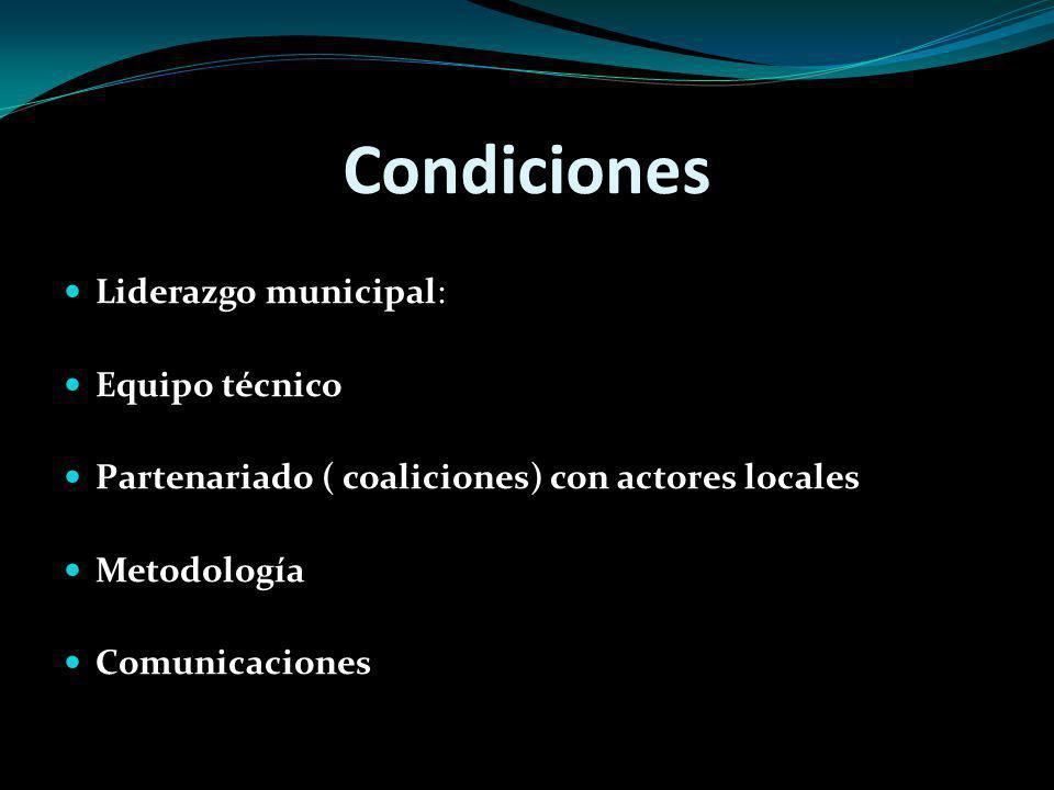 Condiciones Liderazgo municipal: Equipo técnico Partenariado ( coaliciones) con actores locales Metodología Comunicaciones