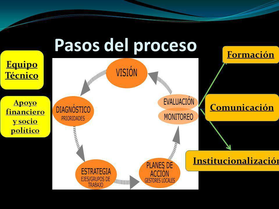 Pasos del proceso Formación Institucionalización Comunicación Equipo Técnico Apoyo financiero y socio político