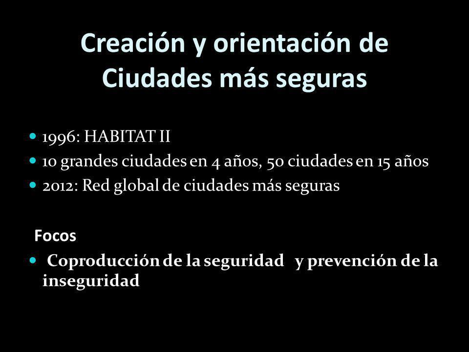 Creación y orientación de Ciudades más seguras 1996: HABITAT II 10 grandes ciudades en 4 años, 50 ciudades en 15 años 2012: Red global de ciudades más