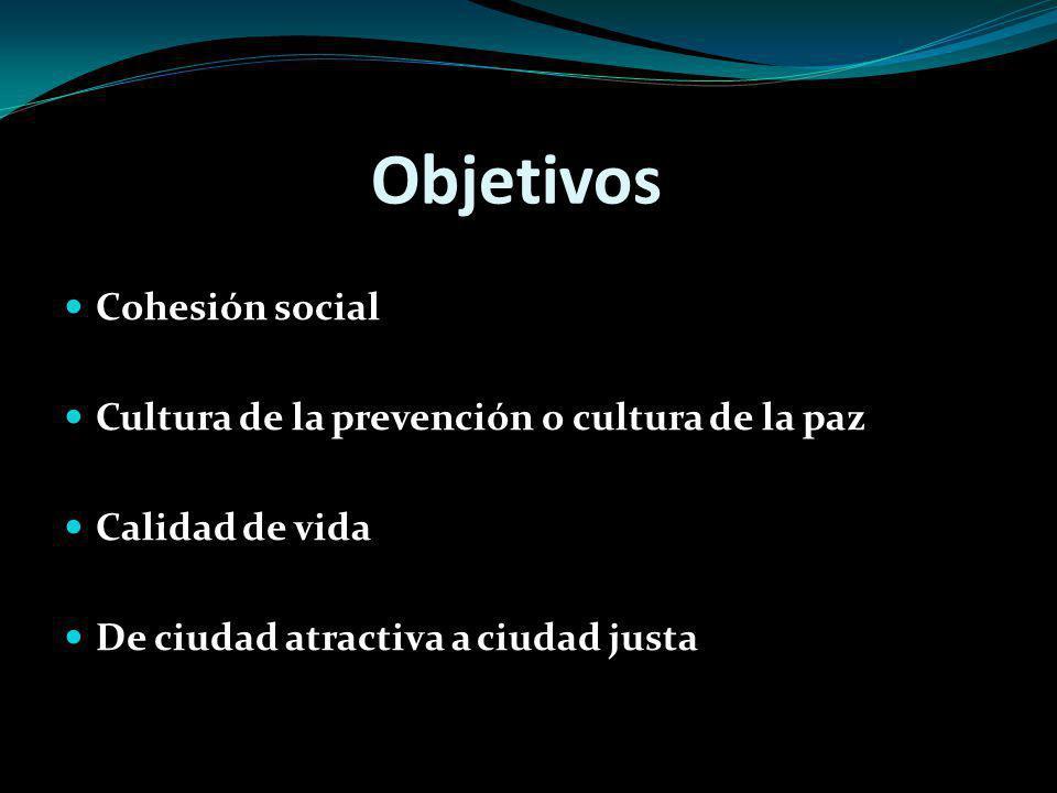 Objetivos Cohesión social Cultura de la prevención o cultura de la paz Calidad de vida De ciudad atractiva a ciudad justa