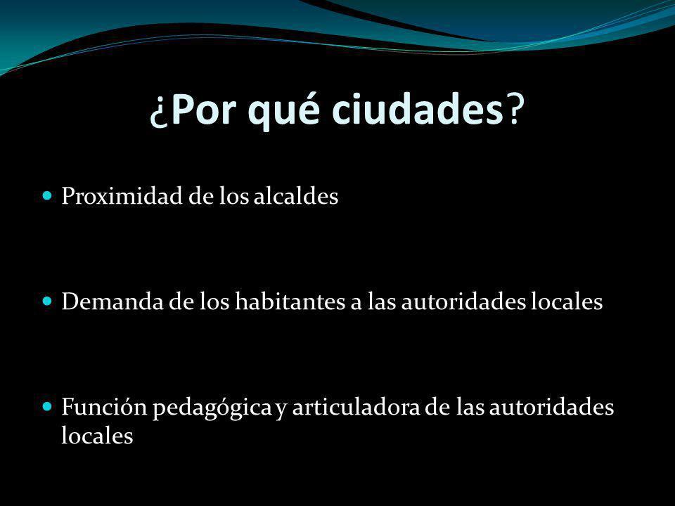 ¿Por qué ciudades? Proximidad de los alcaldes Demanda de los habitantes a las autoridades locales Función pedagógica y articuladora de las autoridades