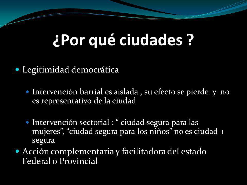 ¿Por qué ciudades ? Legitimidad democrática Intervención barrial es aislada, su efecto se pierde y no es representativo de la ciudad Intervención sect