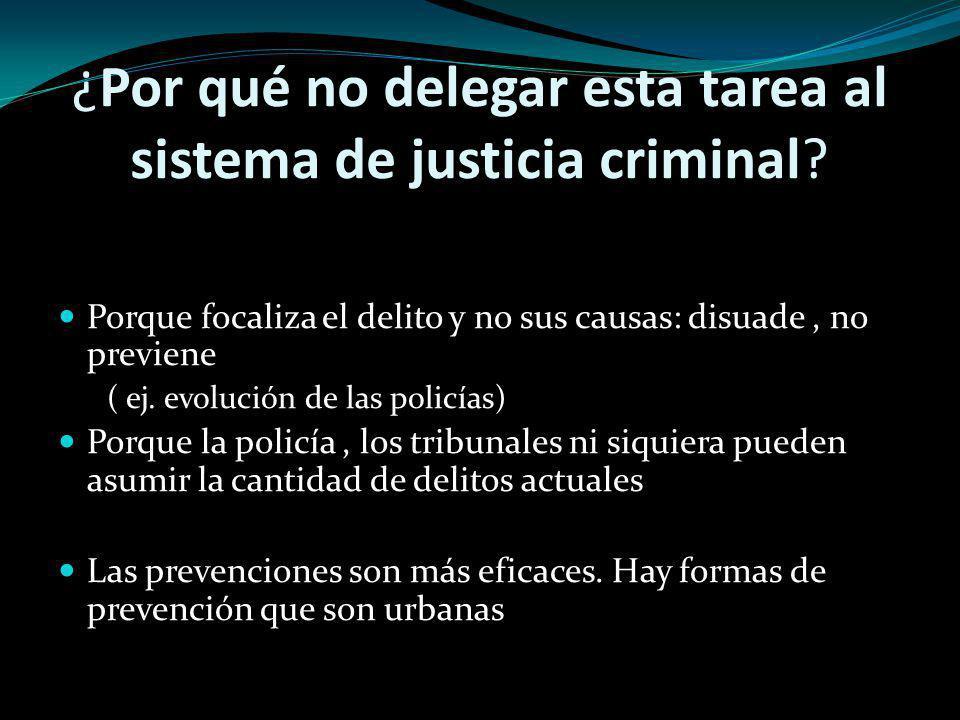 ¿Por qué no delegar esta tarea al sistema de justicia criminal? Porque focaliza el delito y no sus causas: disuade, no previene ( ej. evolución de las