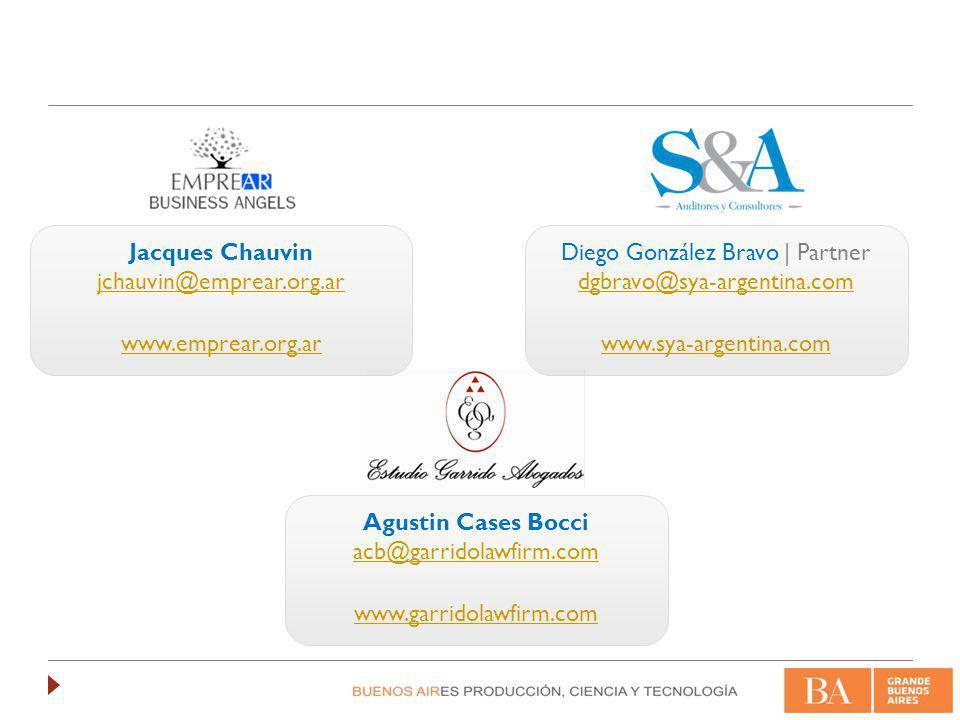 Agustin Cases Bocci acb@garridolawfirm.com www.garridolawfirm.com Jacques Chauvin jchauvin@emprear.org.ar www.emprear.org.ar Diego González Bravo | Partner dgbravo@sya-argentina.com www.sya-argentina.com