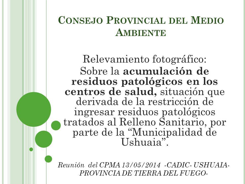 C ONSEJO P ROVINCIAL DEL M EDIO A MBIENTE Relevamiento fotográfico: Sobre la acumulación de residuos patológicos en los centros de salud, situación qu