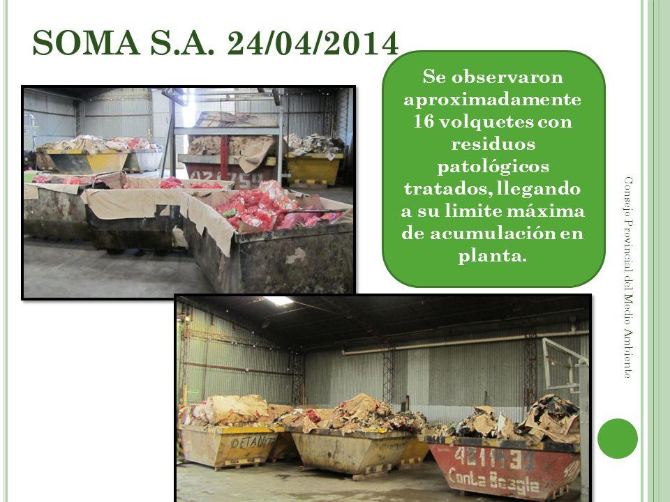SOMA S.A. 24/04/2014 Se observaron aproximadamente 16 volquetes con residuos patológicos tratados, llegando a su limite máxima de acumulación en plant
