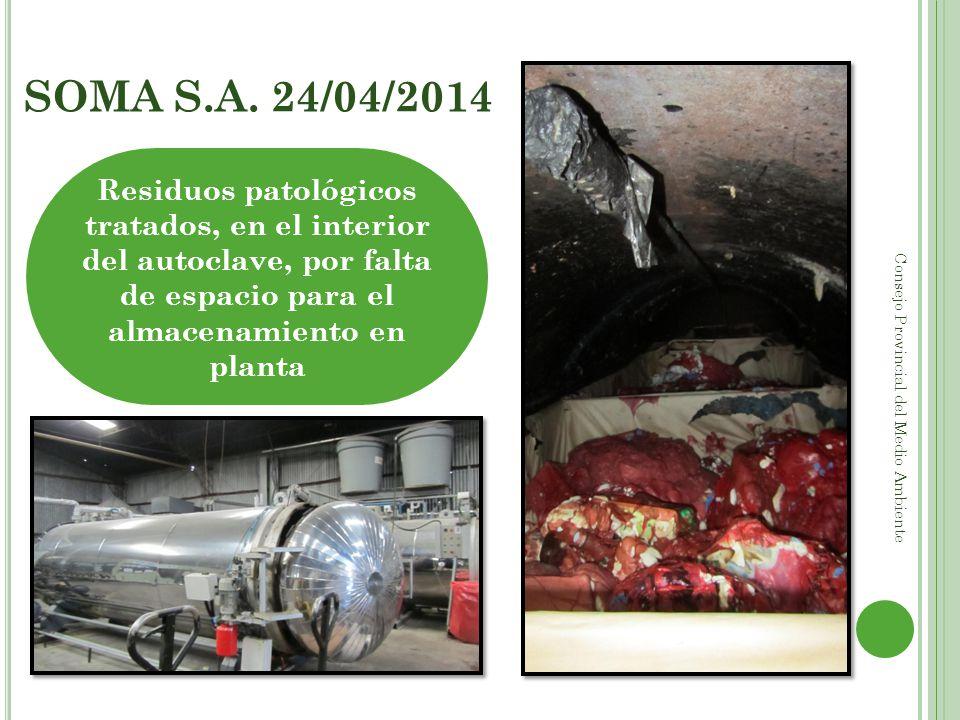 SOMA S.A. 24/04/2014 Consejo Provincial del Medio Ambiente Residuos patológicos tratados, en el interior del autoclave, por falta de espacio para el a