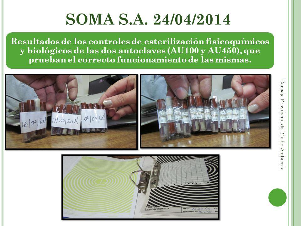 SOMA S.A. 24/04/2014 Consejo Provincial del Medio Ambiente Resultados de los controles de esterilización fisicoquímicos y biológicos de las dos autocl