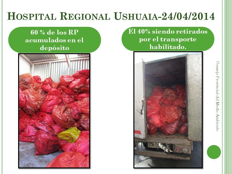 H OSPITAL R EGIONAL U SHUAIA -24/04/2014 Consejo Provincial del Medio Ambiente 60 % de los RP acumulados en el depósito El 40% siendo retirados por el